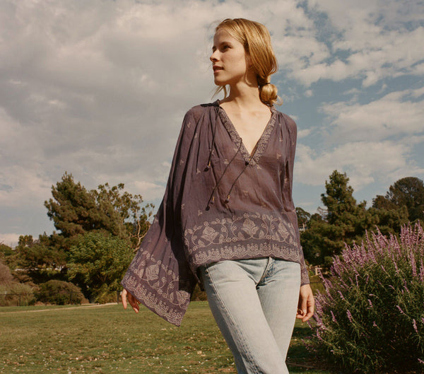 MARIGOLD TOP -- INDIGO WHITE