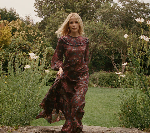 Aster Long-Sleeved Maxi Dress in Bordeaux Winter Floral | Dôen