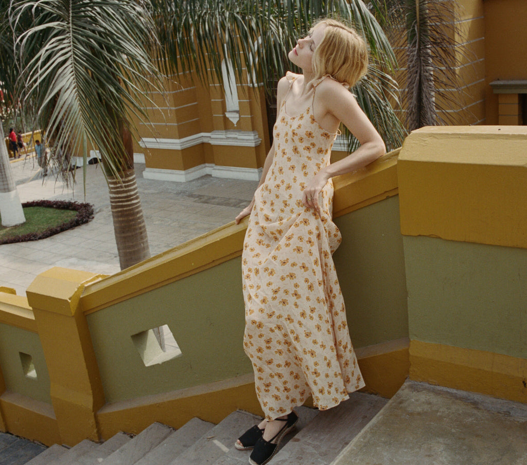 DOVE DRESS -- SUNNY ANEMONE FLORAL