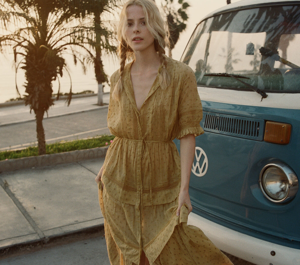 PRIMROSE DRESS -- WHEAT