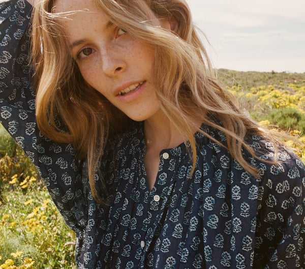 THE JANE BLOUSE -- INDIGO