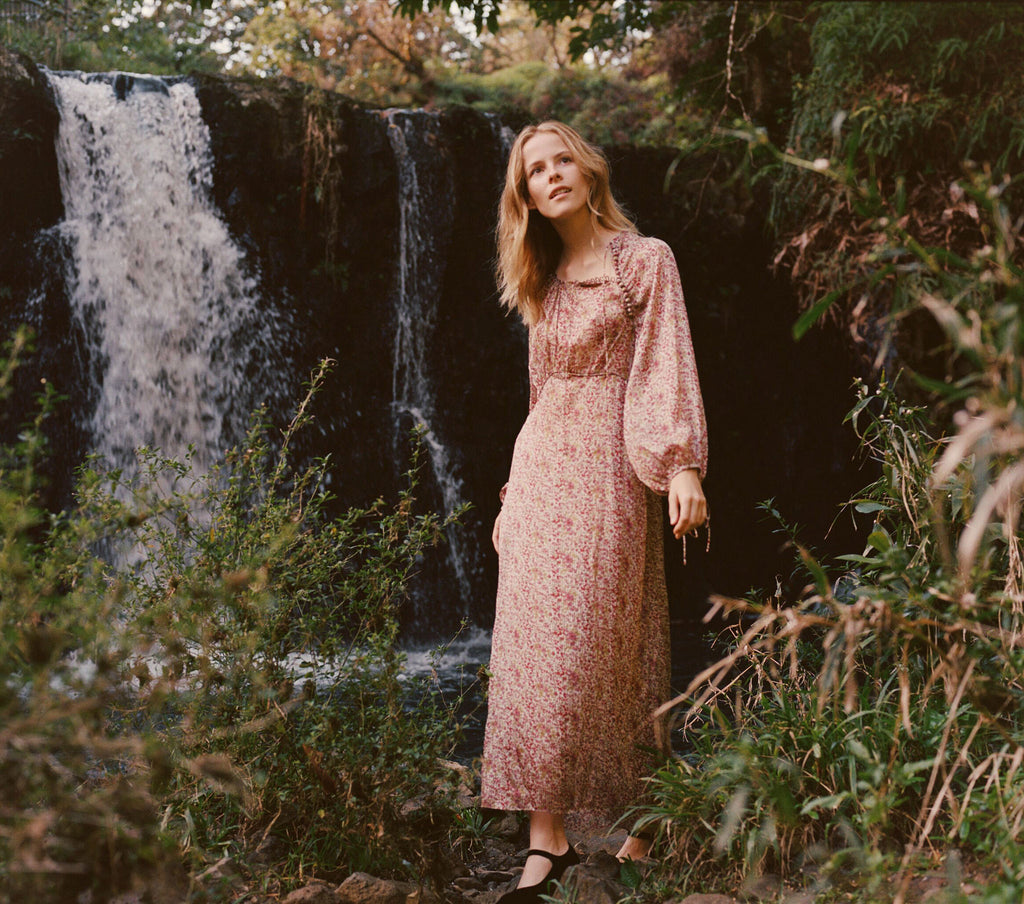 Bellflower Long Sleeved Maxi Dress in Clay Floral | DÔEN