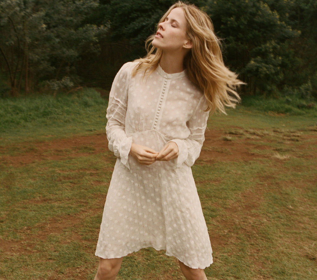 Buchanan Long Sleeved Dress in Salt | DÔEN