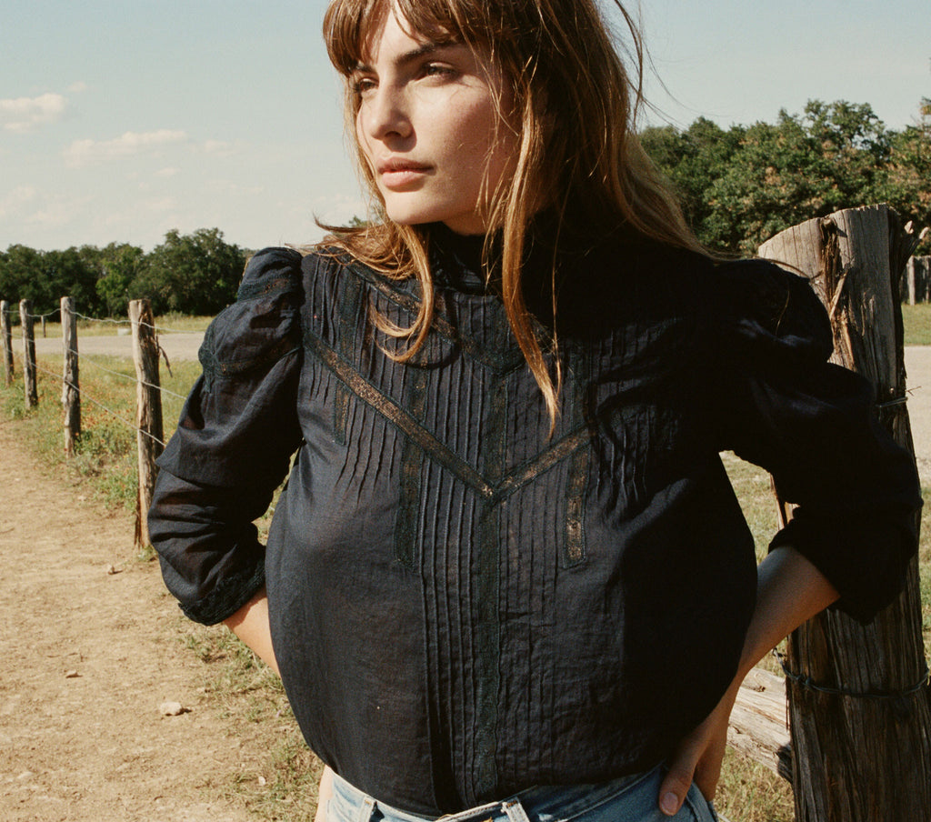 ALBERTINE TOP -- INDIGO
