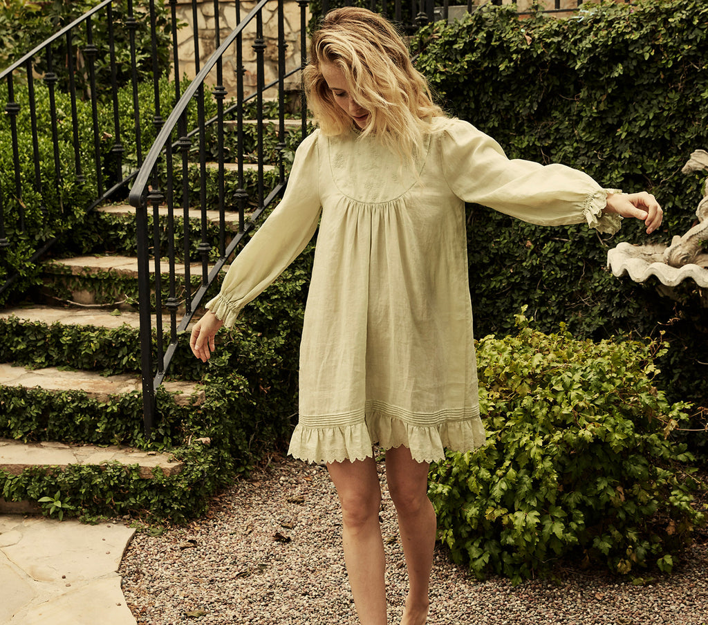 pistachio green long sleeve embroidered ramie mini dress dôen