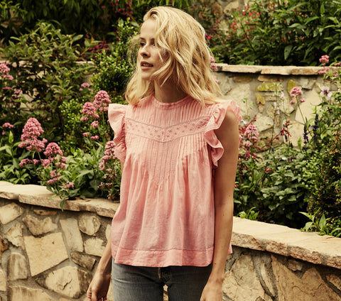 pink cotton sleeveless pin tucked embroidered top dôen