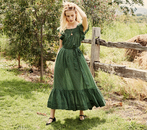 SONNET DRESS -- GREEN MARTHA'S GARDEN PRINT