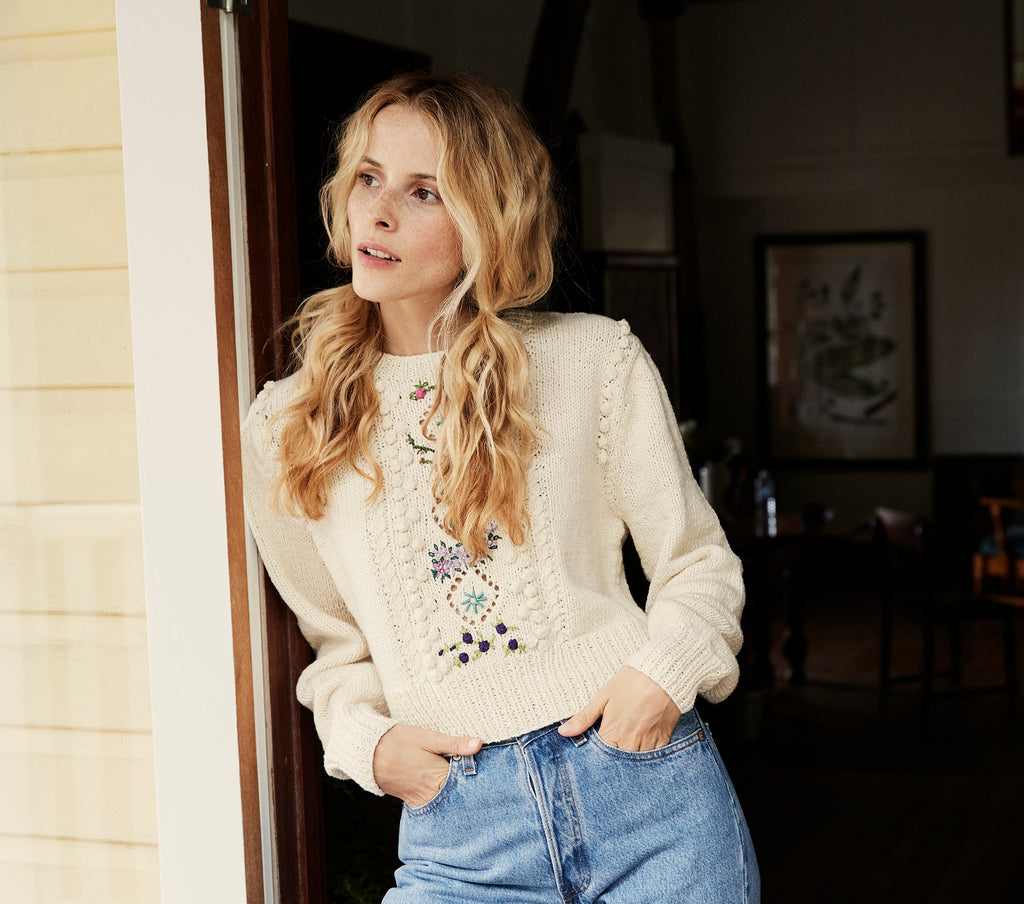 FORGET-ME-NOT SWEATER -- CREAM