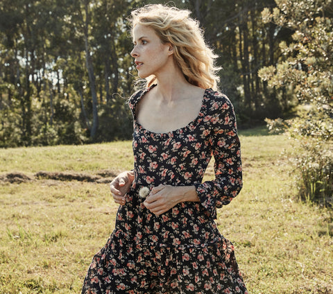 GARNET DRESS -- BLACK POPPY PRINT