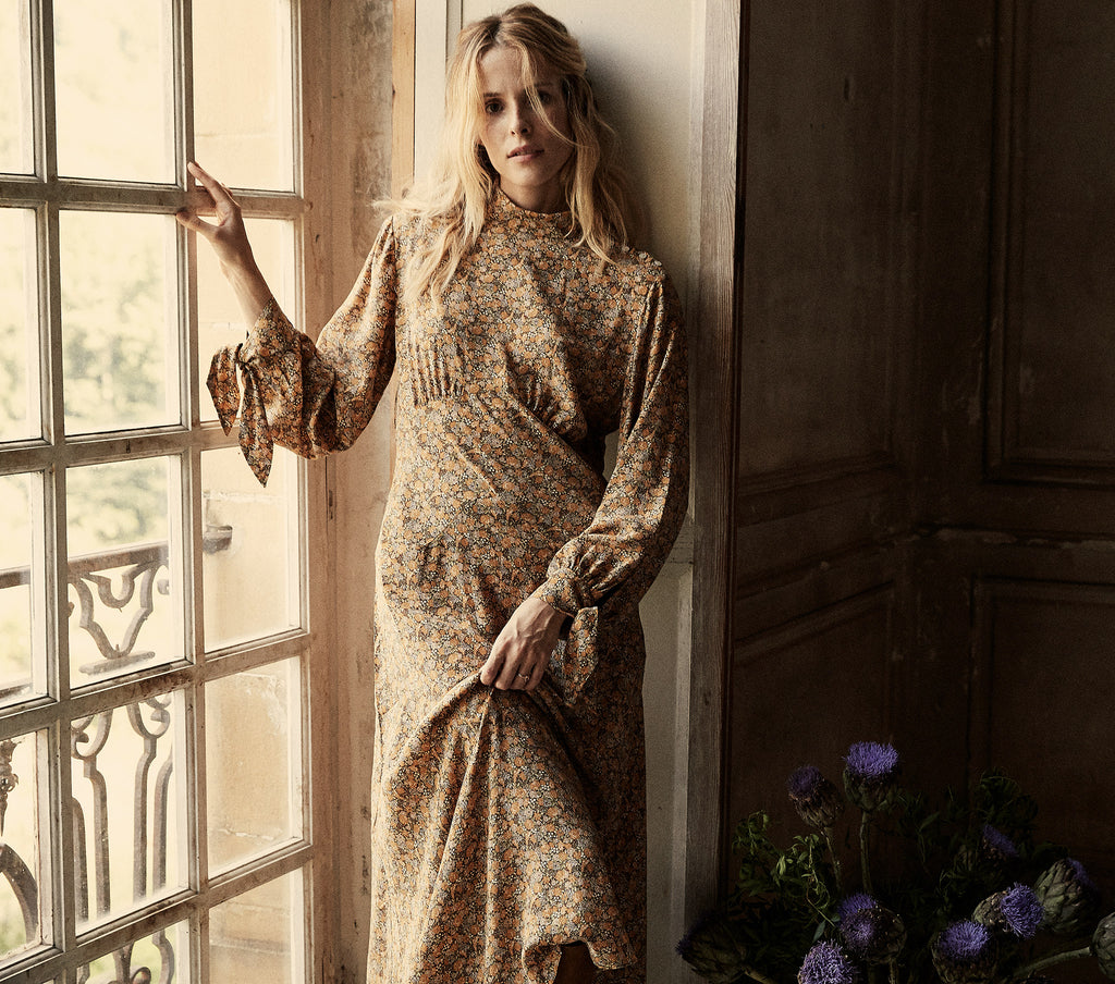 long sleeve golden floral silk asymmetrical hem dress