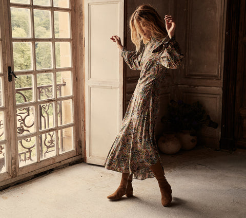 long sleeve colorful paisley silk asymmetrical hem dress