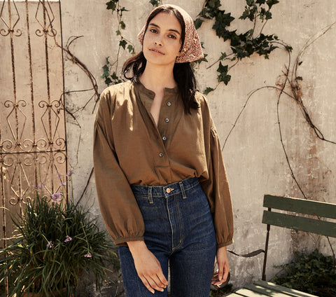 olive green cotton henley style button down oversized top