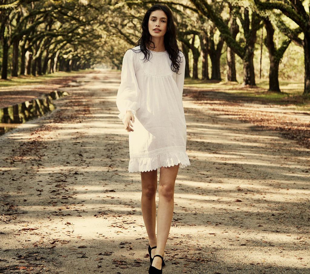 white long sleeve embroidered ramie mini dress dôen