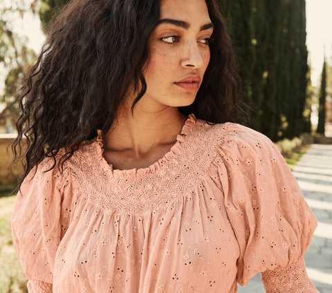 doen arabella top pale pink eyelet puff sleeve smocked blouse
