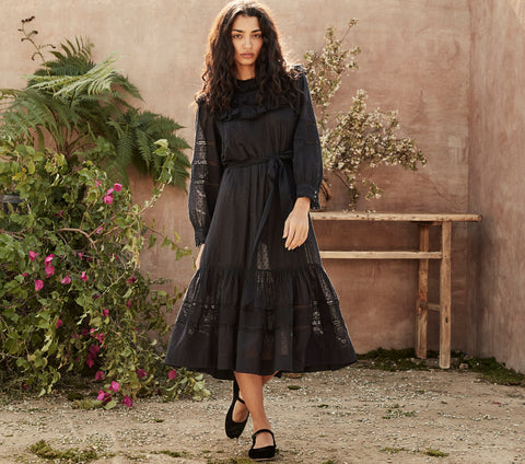 navy blue long sleeve lace ruffle romantic swiss dot maxi dress