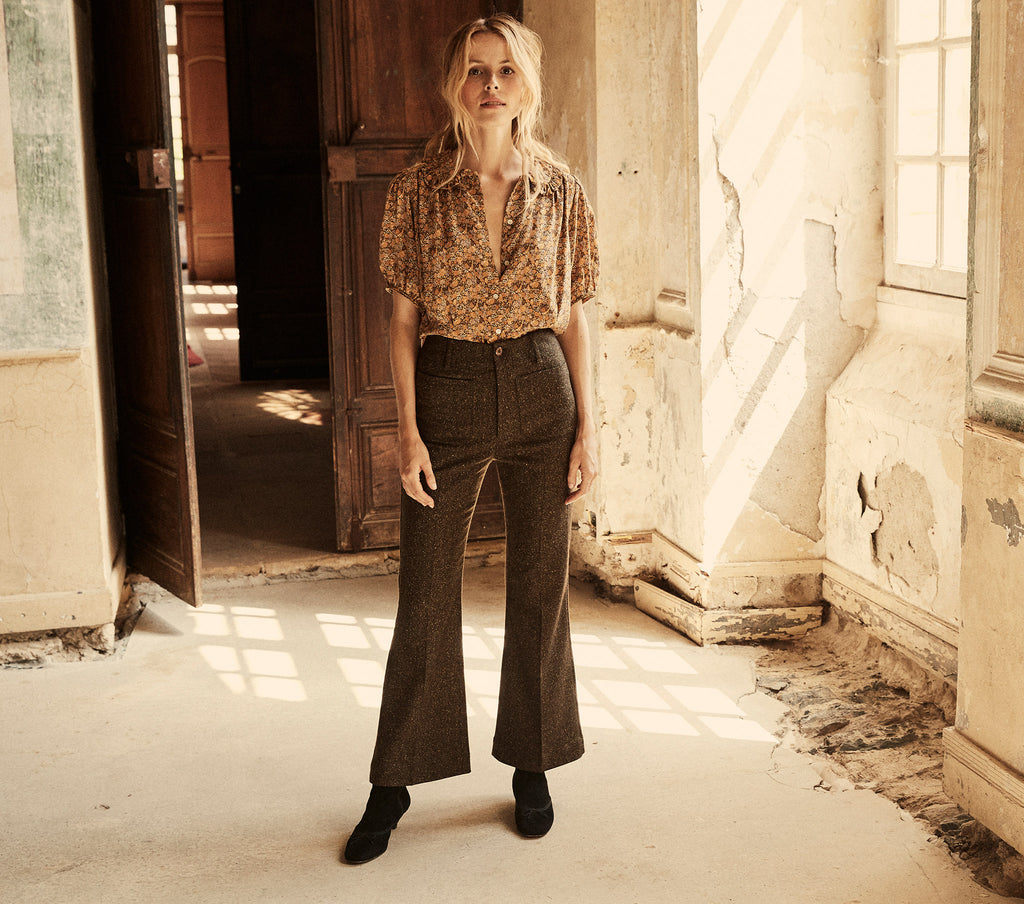 high waisted tweed stretch wool blend cropped women's pants trousers
