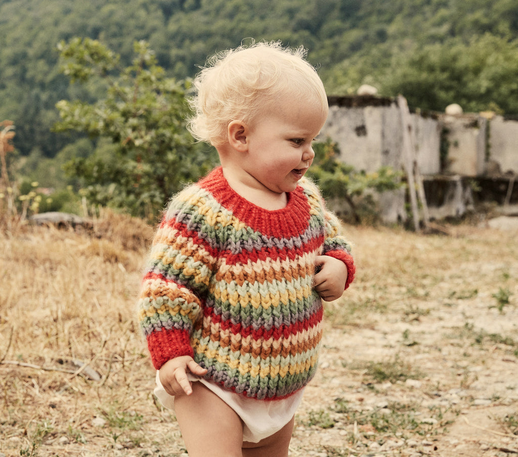 rainbow stripe oversized knit children's kids pullover sweater