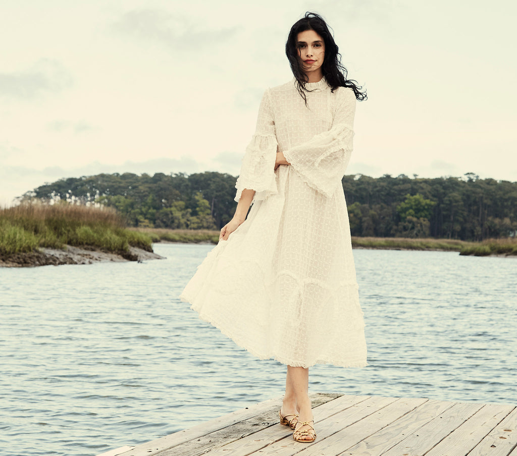 white cotton embroidered long bell sleeve maxi dress dôen