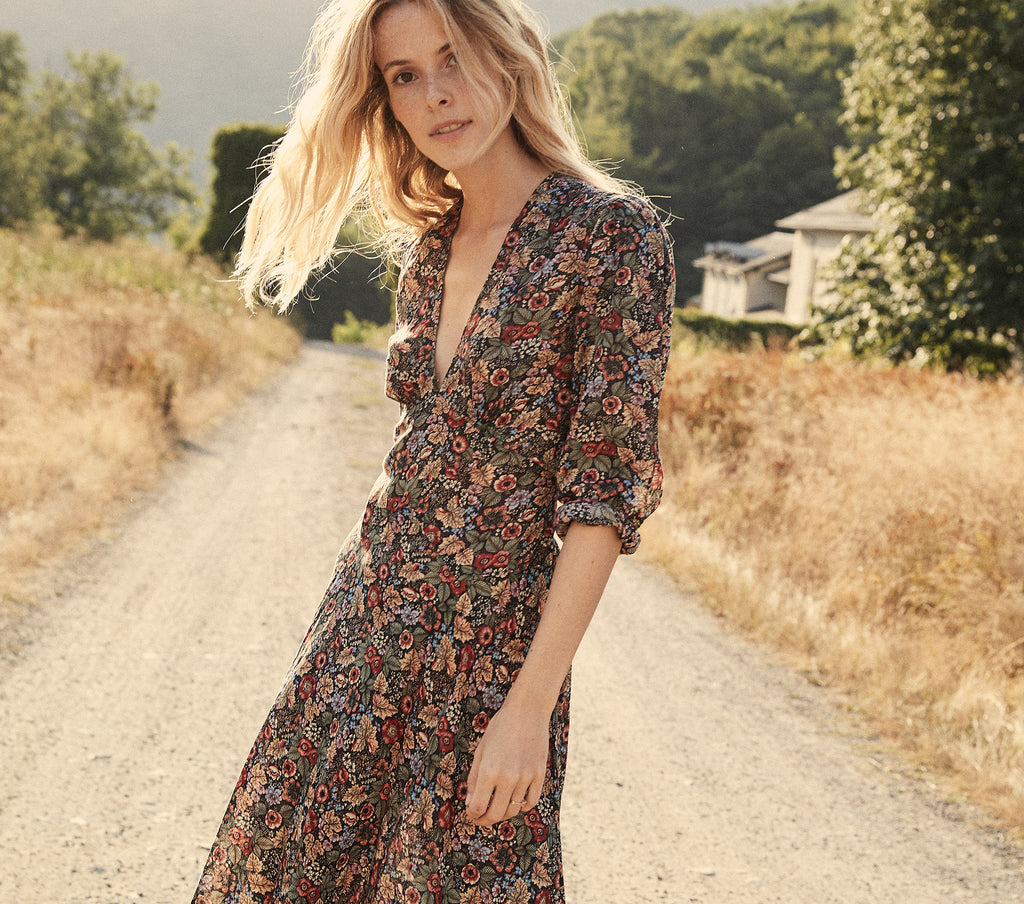 long sleeve deep v neck autumn floral maxi dress