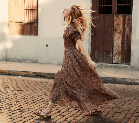 doen brown floral cotton smocked puff sleeve maxi dress