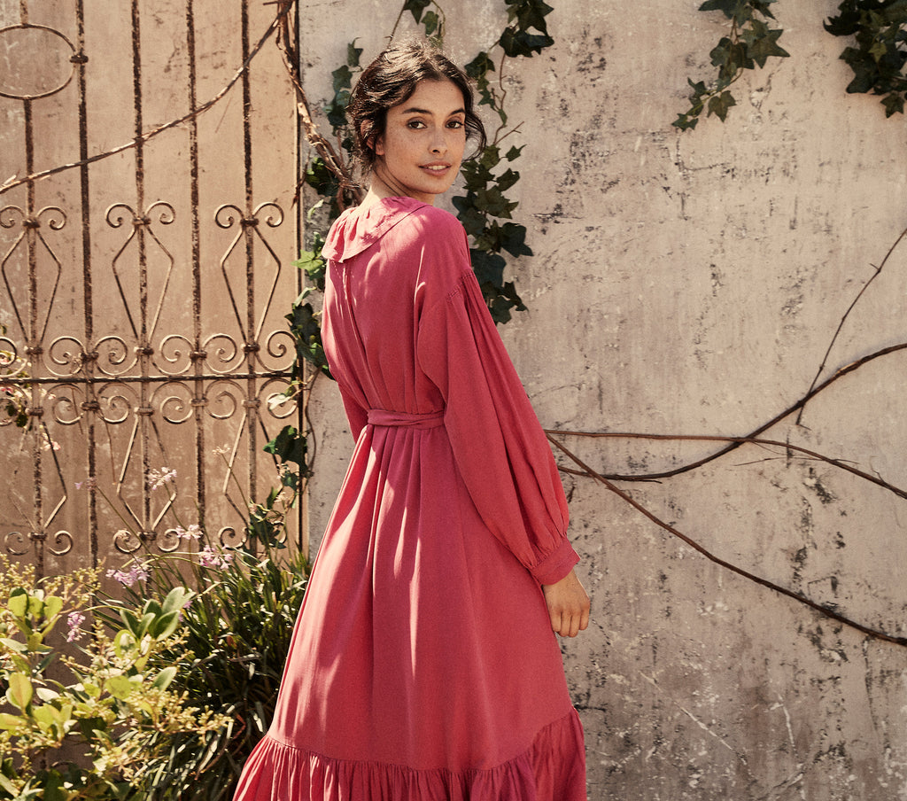 ruffle collar silk maxidress long sleeve pink maxi dress