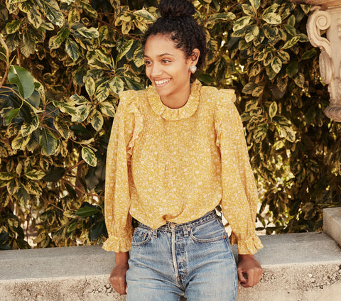FLEUR TOP -- GOLDEN MINI EARL FLORAL