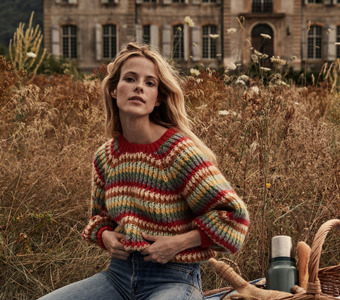 rainbow stripe oversized knit women's pullover sweater