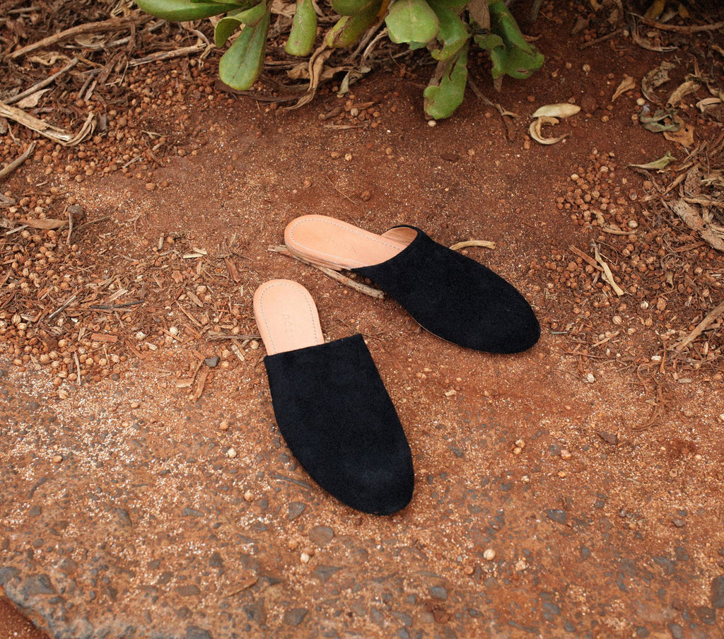 THE SLIPPER -- BLACK SUEDE
