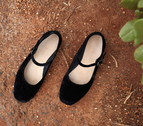 MARY JANE SLIPPER -- BLACK VELVET