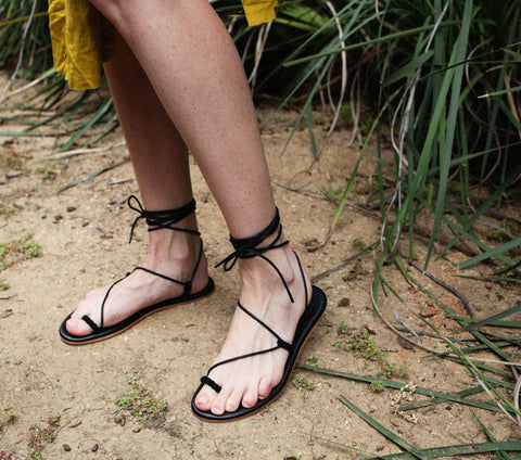 Asymmetrical Gladiator Sandal in Black Suede |Dôen