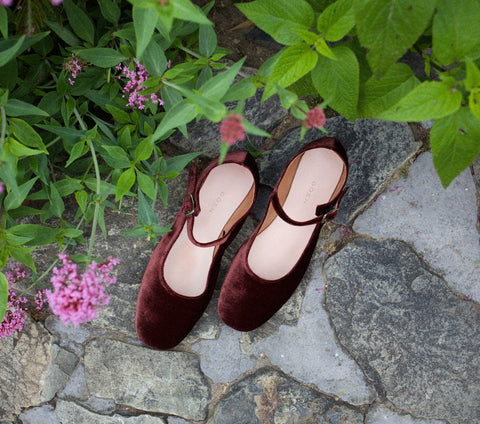 MARY JANE SLIPPER -- BORDEAUX VELVET