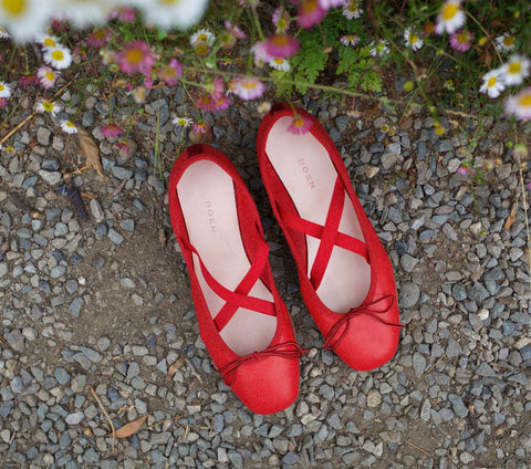 Dance Flat Ballet Slipper in Red | DÔEN