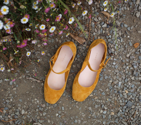 MARY JANE SLIPPER -- POLLEN CALF SUEDE