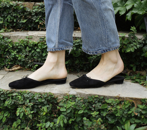 PRAGUE MULE SLIPPER -- BLACK SUEDE