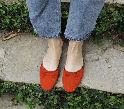 red suede ballet slipper block heel mule dôen