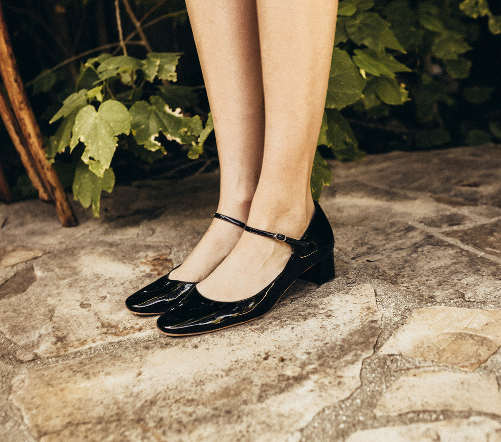 black patent leather high block heel thin strap mary jane