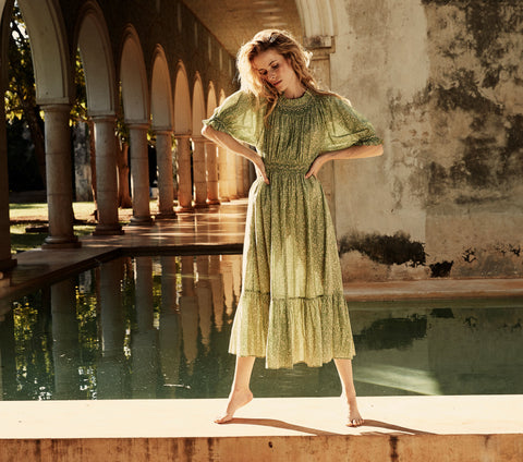 ISIDORE DRESS -- GREEN GARDEN BLOOM