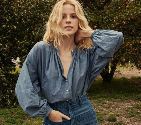 THE JANE BLOUSE -- BLUE CHAMBRAY