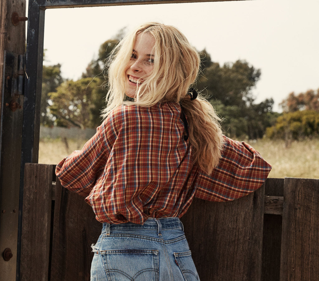 THE JANE BLOUSE -- BLUE AUTUMN PLAID