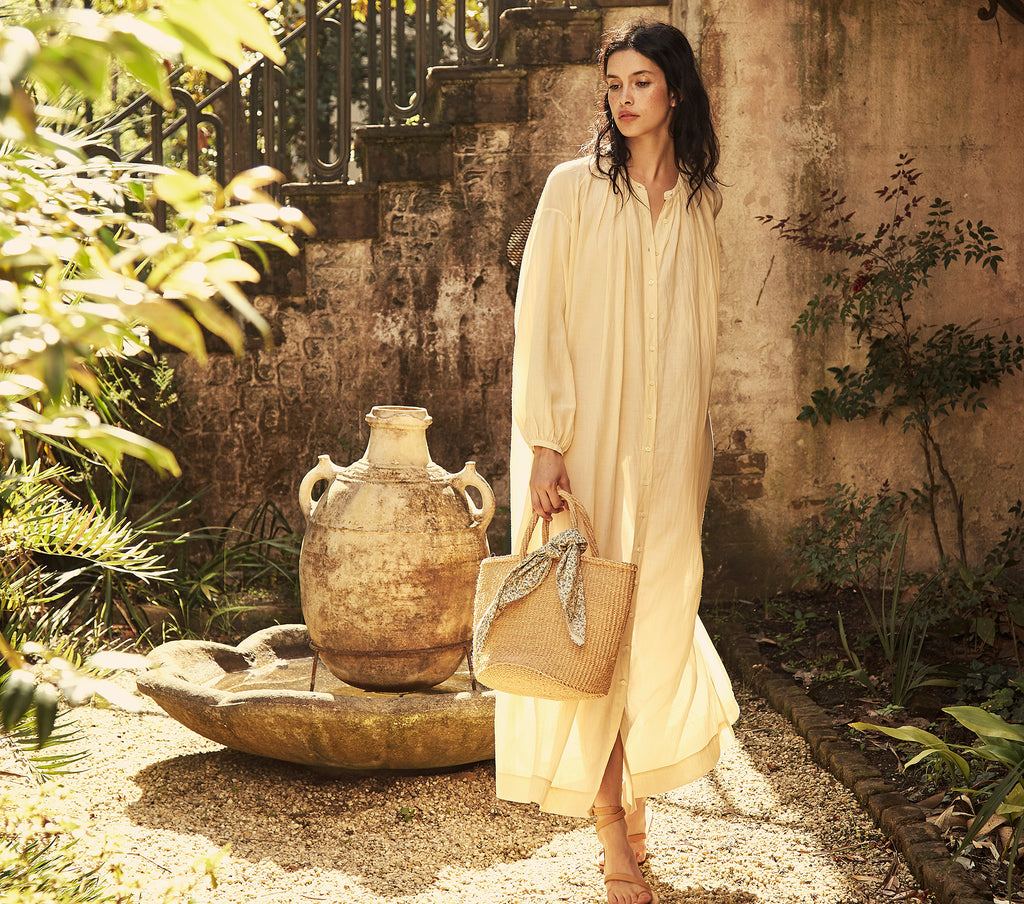 cotton blend long sleeve shell button down maxi dress dôen