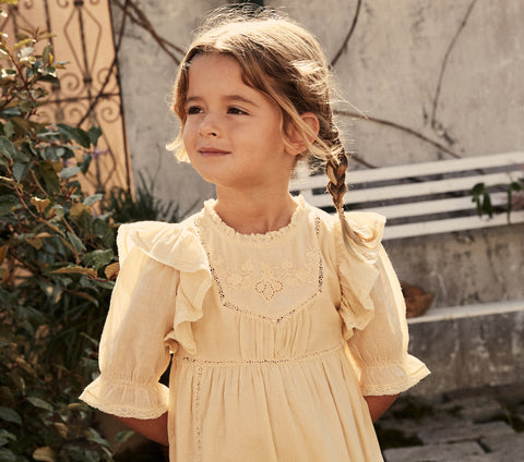 ruffled short sleeve floral embroidery girls kids dress cream