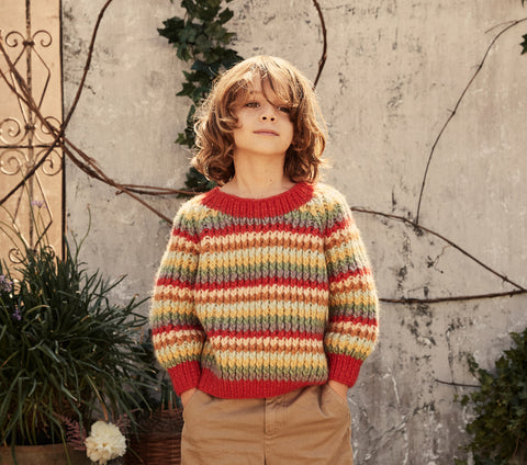 FLOWER SWEATER -- RAINBOW KNIT