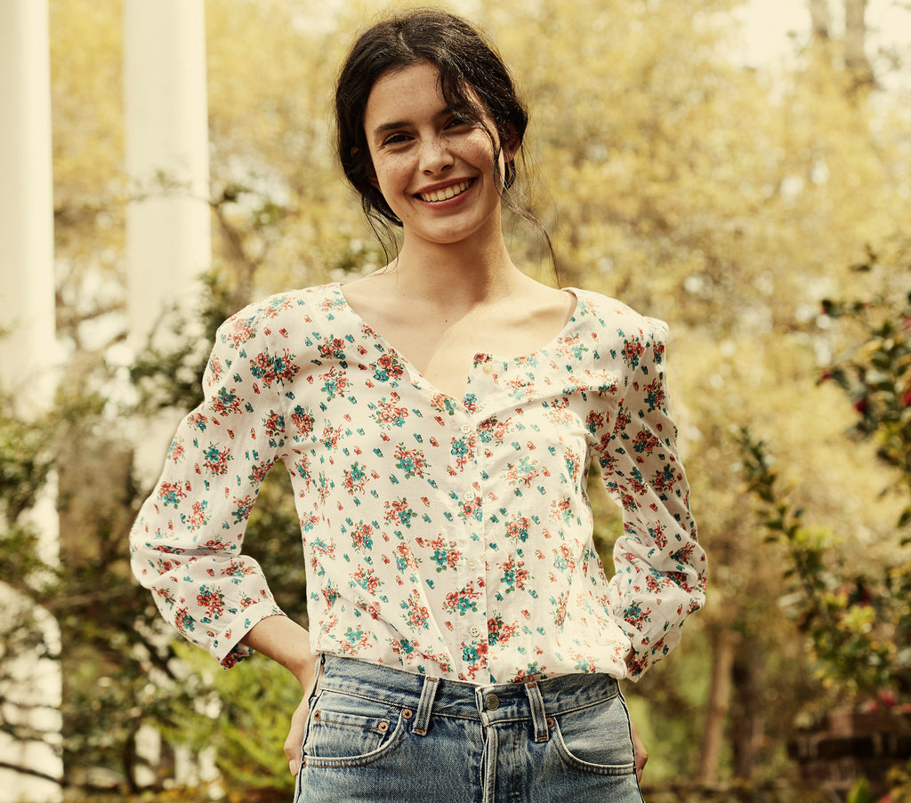white floral print cotton button down top dôen
