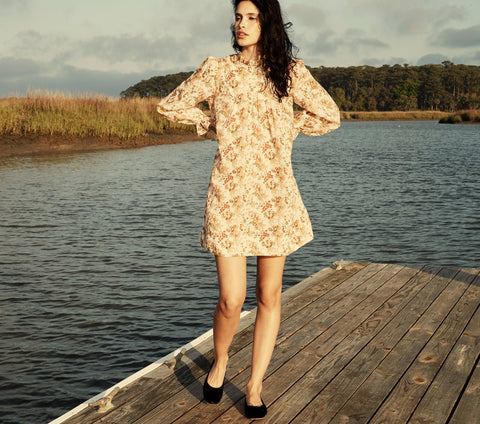ramie long sleeve neutral floral print short mini dress dôen