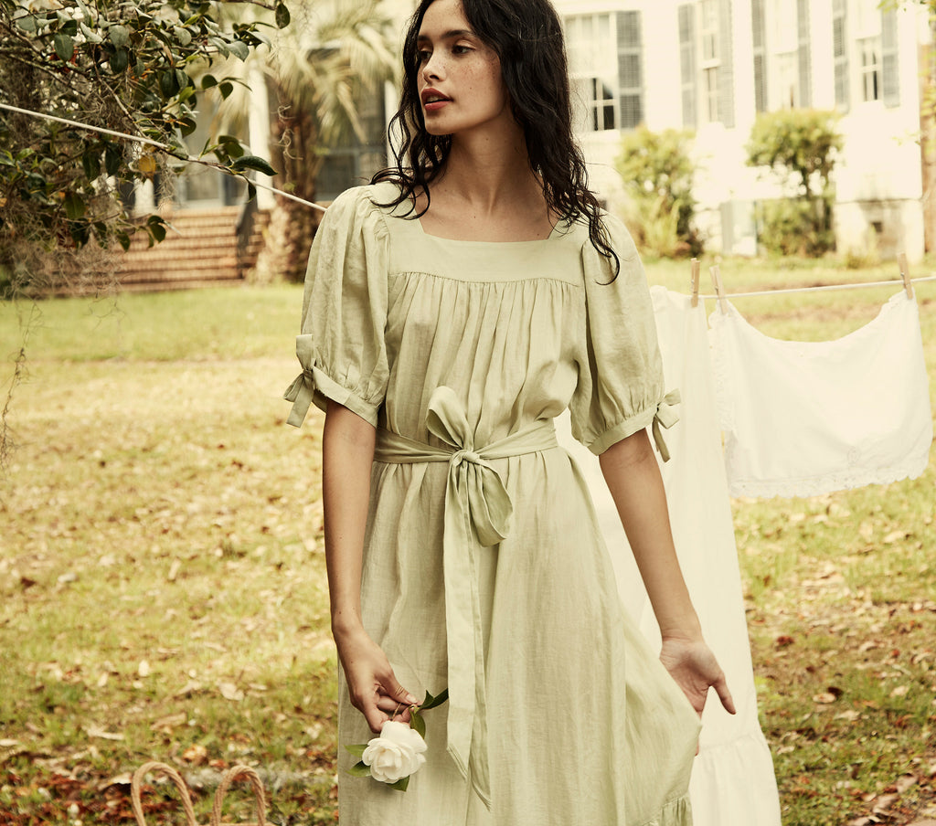 pistachio green puff sleeve belted ramie maxi dress dôen