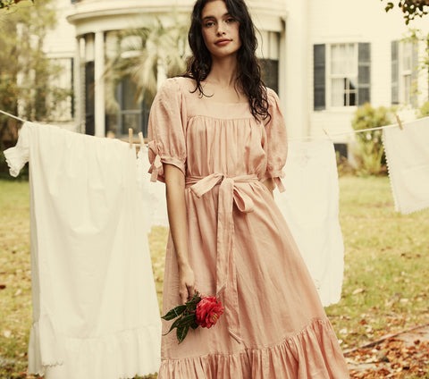 pink puff sleeve belted ramie maxi dress dôen