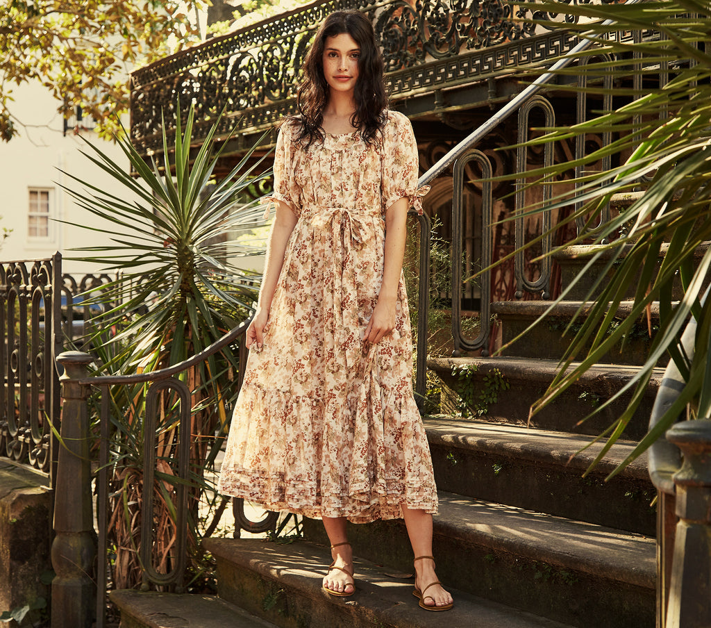 ramie puff sleeve long neutral floral print maxi dress dôen