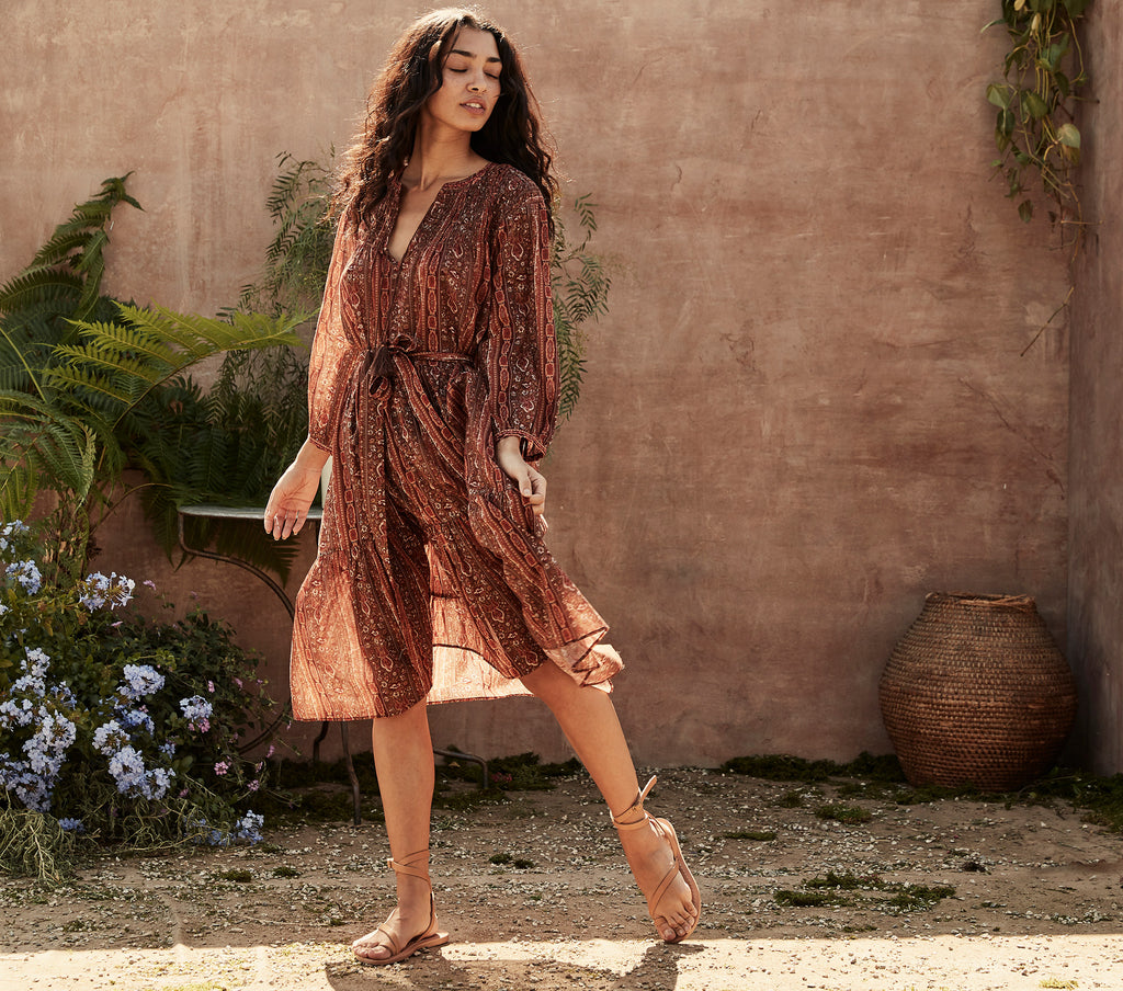 rust floral mid length tassel front loose fitting dress