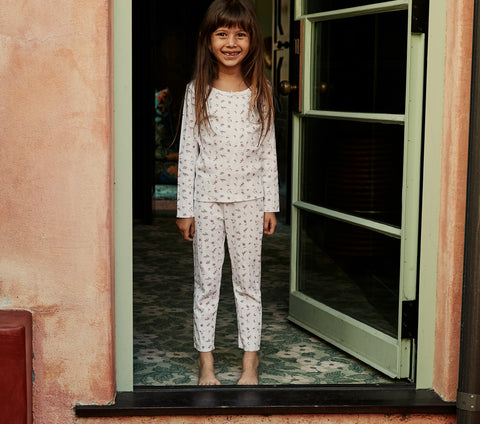 doen chesnee pant white floral print kids pointelle pants
