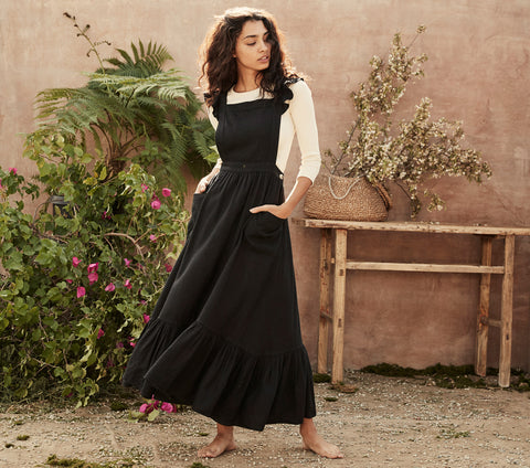 black silk linen blend pinafore style apron maxi dress